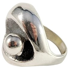 Örneus, Stockholm year 1973 Bold Modernist 830 Silver Adjustable Size Ring.