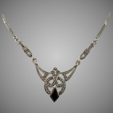 Art Deco c 1930 Solid 826 Silver Marcasite Onyx Necklace.