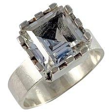 Ekström, Sweden year 1968 Sterling Silver rock Crystal Modernist Ring.