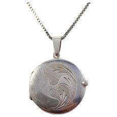 Mid Century 835 Silver Locket Pendant Necklace. Germany or Austria.
