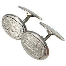 V.J.Nevanranta, Finland year 1936 Uusi Soumi Solid Silver Cufflinks