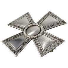 Sporrong, Sweden year 1952 Solid Silver Nurse Badge Brooch