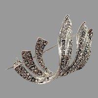 Denmark Mid Century 830 Silver Marcasite Brooch.