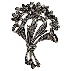 Swedish Import 1950s Solid 830 Silver Marcasite Brooch.