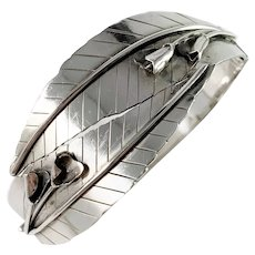 Kaplan, Stockholm year 1955 Mid Century Large Sterling Silver Open/Close Bangle Bracelet