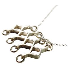 Kultateollisus, Finland year 1966 Modernist Solid Silver Pendant With A New Sterling Chain.