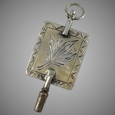 Fredrik Slough, Sweden year 1860 early Victorian Solid Silver Watch Key Pendant.