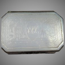 Georgian c 1800 Sterling Silver Mother of Pearl Box. Provenance.