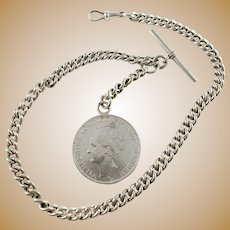 The Netherlands and Britain Early 1900s Massive 2.9oz Sterling Silver Watch Chain w Coin. In Necklace Length.