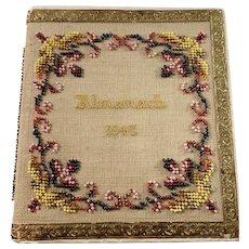 Sweden year 1843, Antique Beadwork Embroidered Almanack