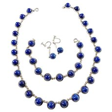 Mattsson & Olsson, Sweden year 1955 Mid Century Sterling Silver Sodalite Set. Necklace, Bracelet, Earrings.