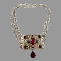 Johan Mathias Holm, Sweden year 1817-30 Georgian Solid Silver Paste Choker Necklace.