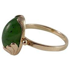 Russia, Soviet Era Mid Century 14k Gold Jade Ring.