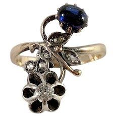 Russia, Soviet Era Mid Century 14k Gold Diamond Synthetic Sapphire Ring.
