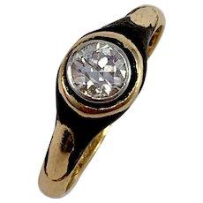 CG Hallberg, Stockholm 1922, 18k Gold 0.25ct Diamond Enamel Mourning Ring.