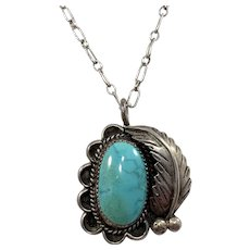 Maker J.S Vintage Sterling Silver Turquoise Native American Pendant Necklace