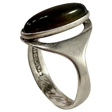 Turun Hopea Finland 1964 Solid 813 Silver Tiger-Eye Ring.
