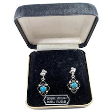 Maker JE, Vintage Sterling Silver Turquoise Native American Earrings. Original Box.