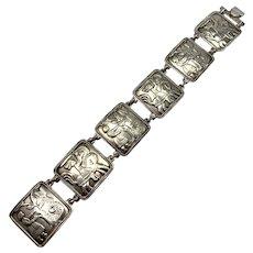 David-Andersen Norway Mid Century Sterling Panel Bracelet. Design: Eventyr / Fairytale