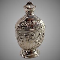 Germany Georgian Late 1700s Solid Silver Paste Stone Table Vinaigrette Scent Box.