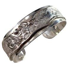 Stockholm, Sweden Vintage Massive 2oz Sterling Silver Cuff Bangle Bracelet.