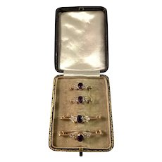 Edwardian 9k Gold Amethyst Seed Pearl Lingerie Pins. Original Box.
