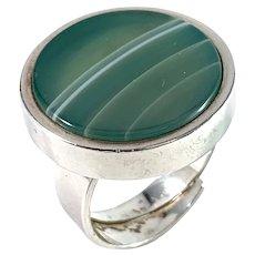 Bengt Hallberg, Sweden year 1973 Sterling Silver Agate Adjustable Size Ring.