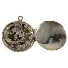 Sweden c year 1850 early Victorian Solid Silver Vinaigrette Locket Pendant.