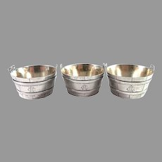 Tiffany & Co, New York late 1800s Sterling Silver Barrel-Form Salt Cellars. Set of 3.