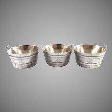 Tiffany & Co, New York late 1800s Sterling Silver Barrel-Form Salt Cellars. Set of 3.