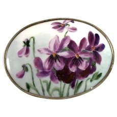 Wahlberg, Sweden year 1918 Antique Solid Silver Painted Porcelain Large Brooch.