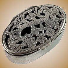 Germany late 1800s Solid Silver Vinaigrette Box.
