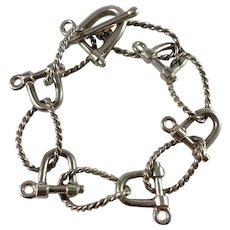 Vintage 800 Silver Chunky Nautical Unisex Bracelet. Maker's Mark