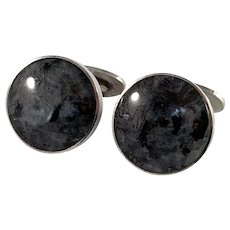 Stenlya, Sweden year 1967 Sterling Silver Syenite Stone Pair of Cufflinks