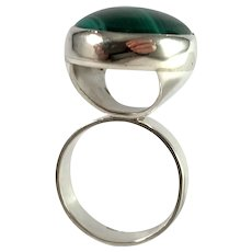 Sweden, Vintage Bold Sterling Silver Malachite Ring.