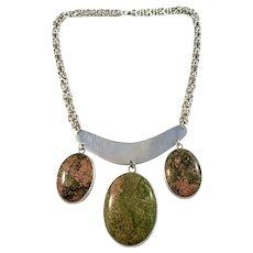 Sweden Vintage Massive 3.2oz Sterling Silver Green Red Rock Stone Necklace.