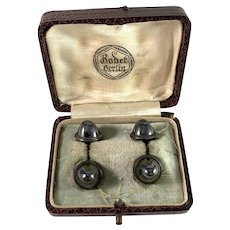 Antique German Silver Hematite Cufflinks. Boxed.