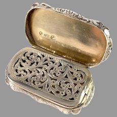 Nathaniel Mills, Birmingham 1852 Victorian Large Sterling Silver Vinaigrette Box.