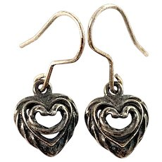 Kalevala Koru, Finland Vintage Sterling Heart Earrings.