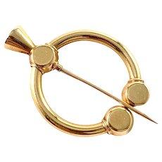 G Dahlgren, Sweden 1920. Antique 18k Gold Fibula Brooch Scarf Pin.