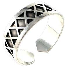 Stockholm 1933 Art Deco Massive Sterling Silver Cuff Bracelet.