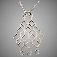 Jorma Laine for Kultateollisuus Finland 1964 Solid Silver modernist Pendant Necklace