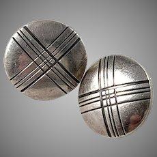Kalevala Koru, Finland 1961 Vintage Silver Stud Earrings.