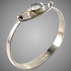 Erik Granit, Finland 1963 Silver Rock Crystal Bangle Bracelet.