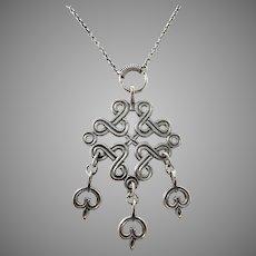 Kalevala Koru, Finland 1965 Sterling Silver Pendant Necklace.