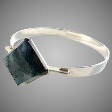 Kultasepät Salovaara Finland 1962 Silver Moss Agate Bangle Bracelet.