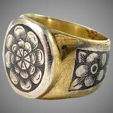 Russia, Soviet Era Vintage 1950-60s Silver Niello Ring.