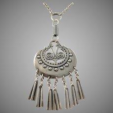 Kalevala Koru, Finland Large Vintage Sterling Silver Moon Goddess Necklace.