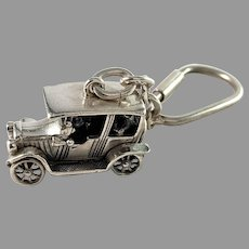 Vintage Sterling Silver Car Key Ring.