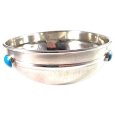 Arts and Crafts Hand Hammered Sterling Silver Turquoise Condiment Dish Bowl
